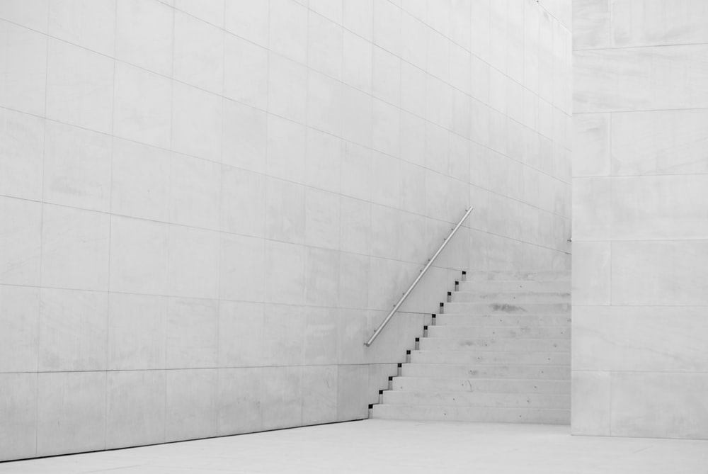 photography of white concrete stairs