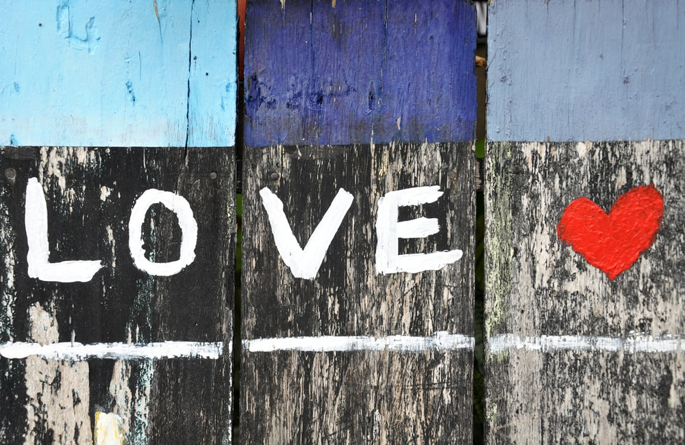 photography of black, white and red love text-printed board