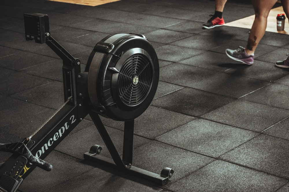 black and gray exercise equipment