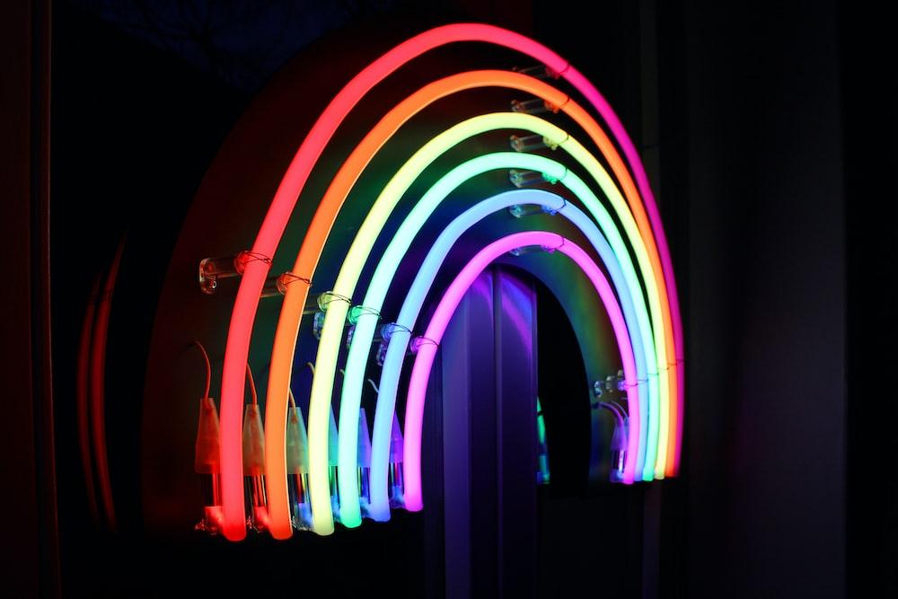 rainbow colored neon decor