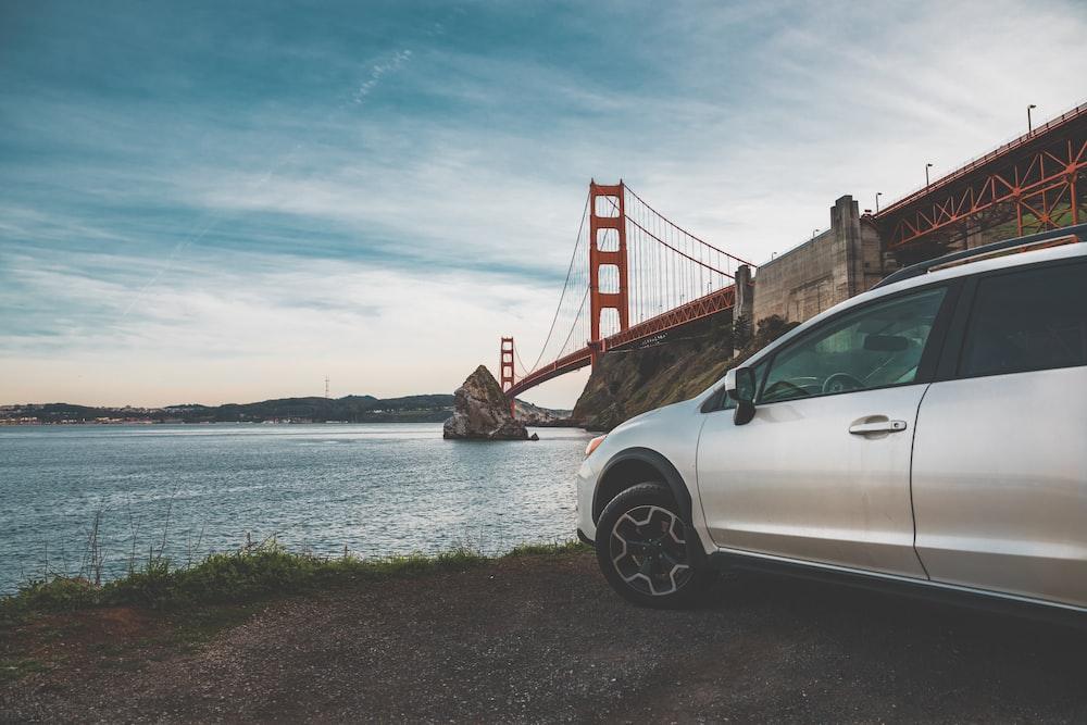 wide angle photo of Golden Gate Bridge