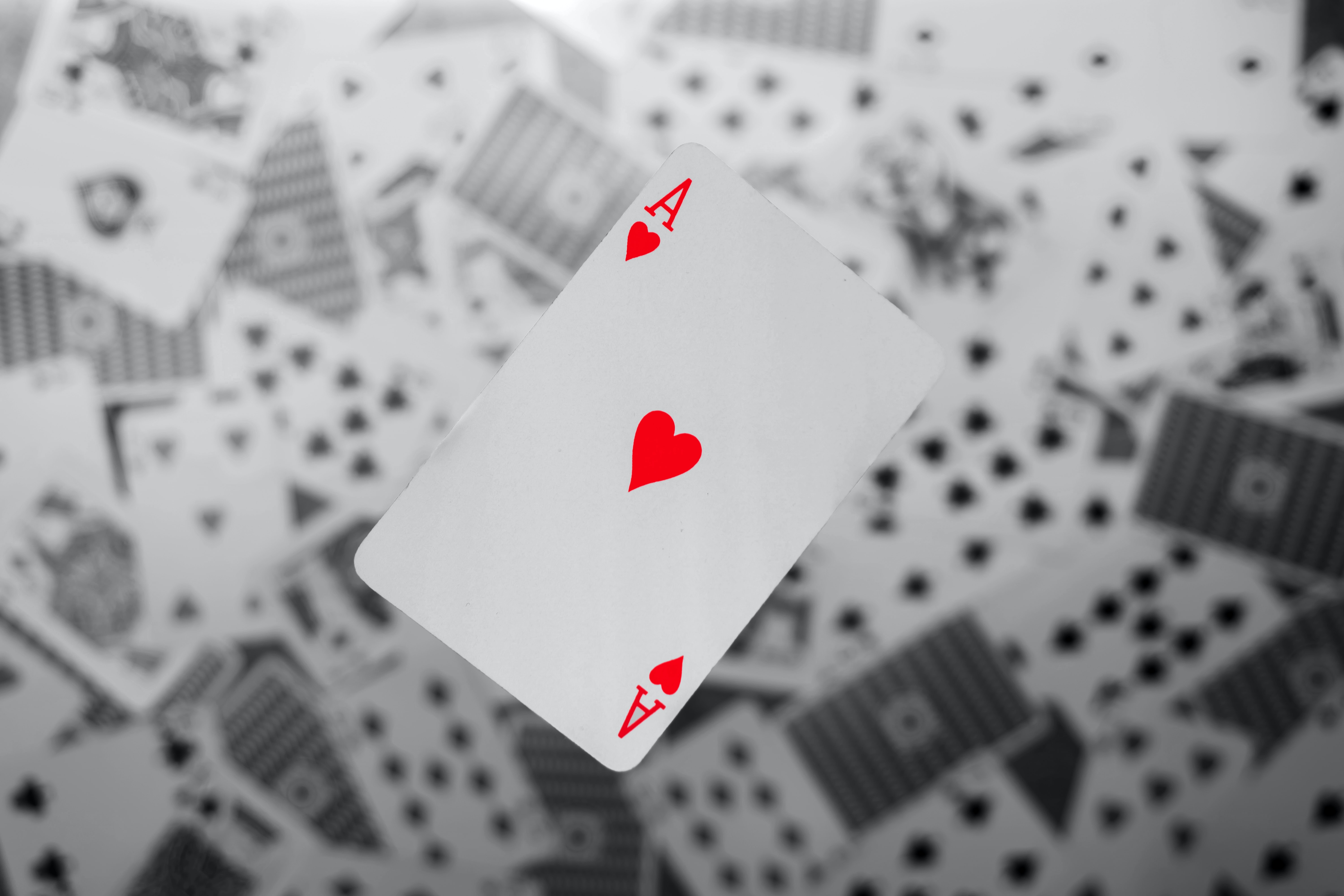 focus photography of Ace of Hearts