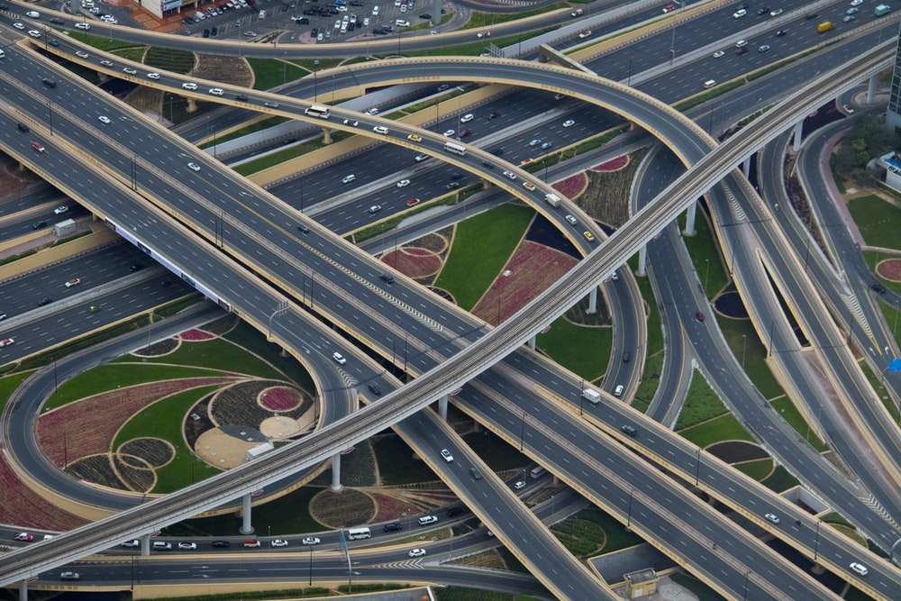 aerial photography of gray concrete roads