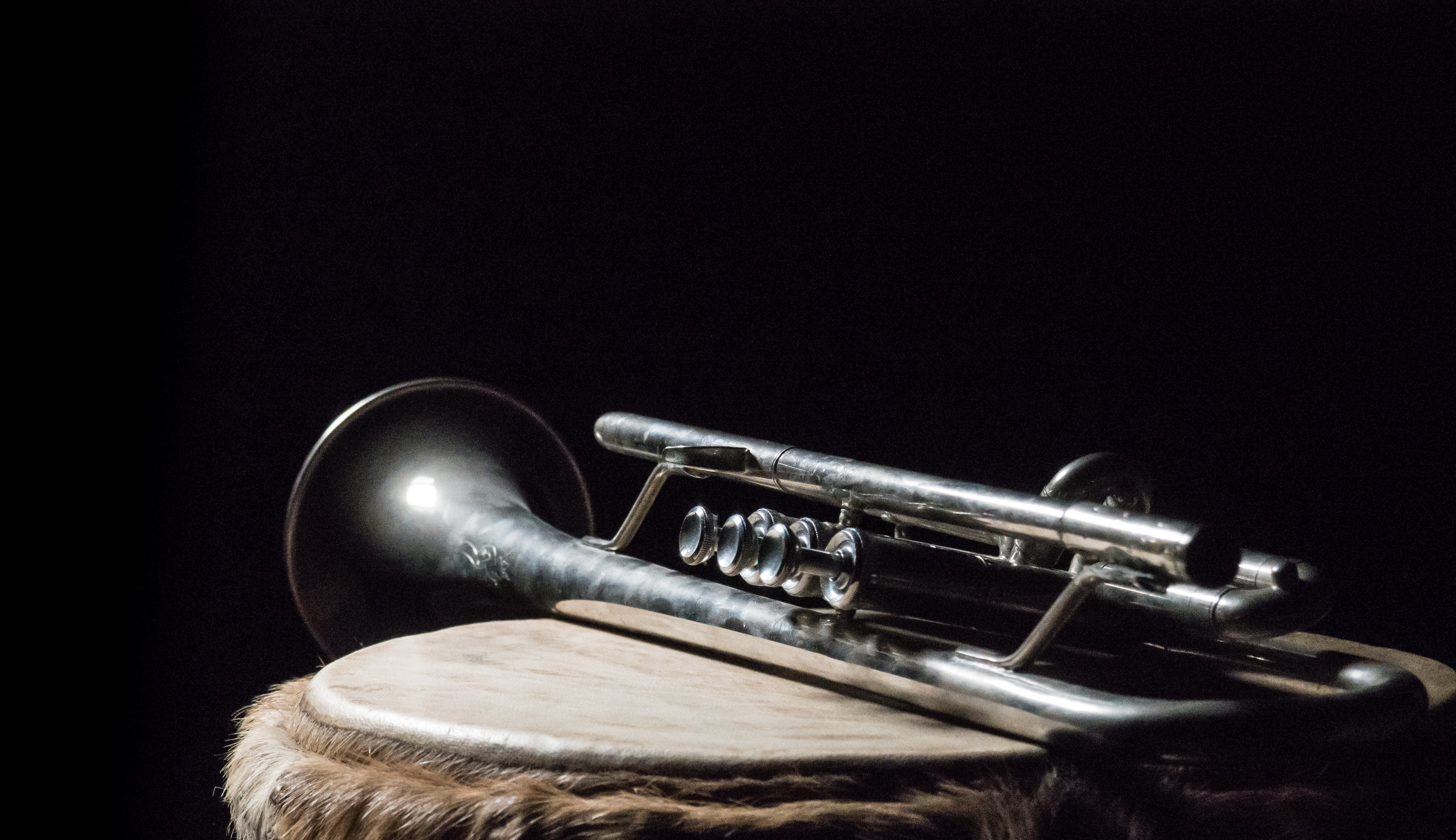 silver trumpet on brown wooden surface