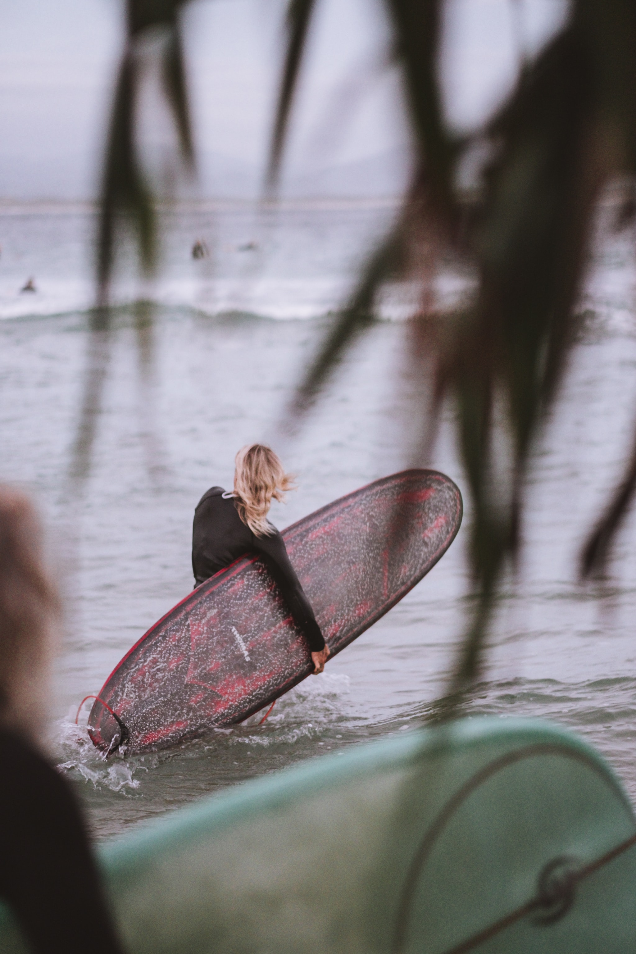 woman carrying pink surfboard on body of water