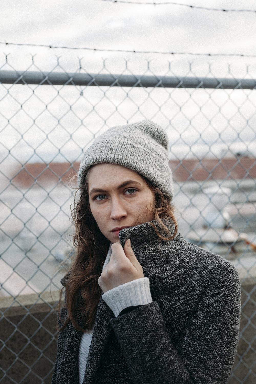 woman wearing gray knit cap