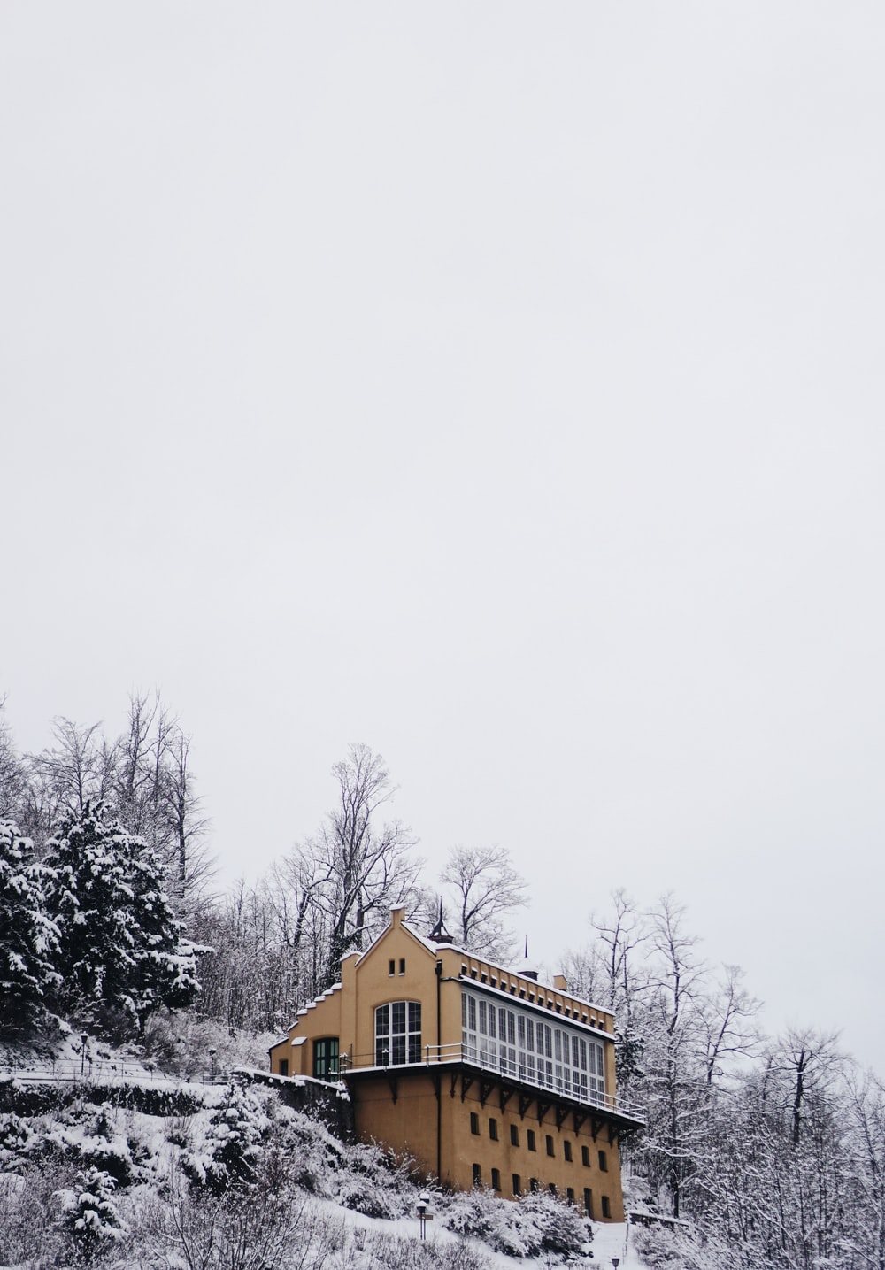 brown concrete building at winter