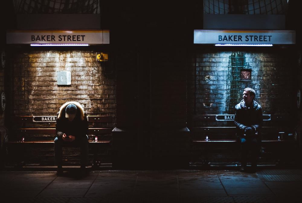 two men sitting on Baker Street