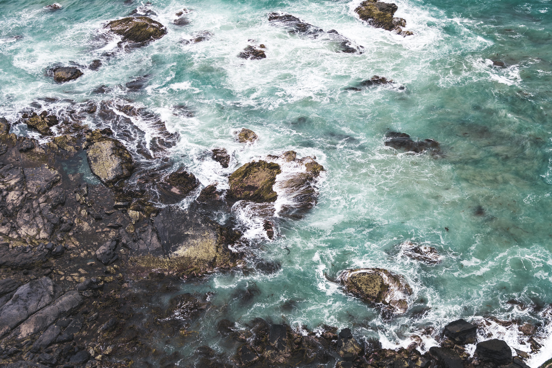bird's eye view of sea waves