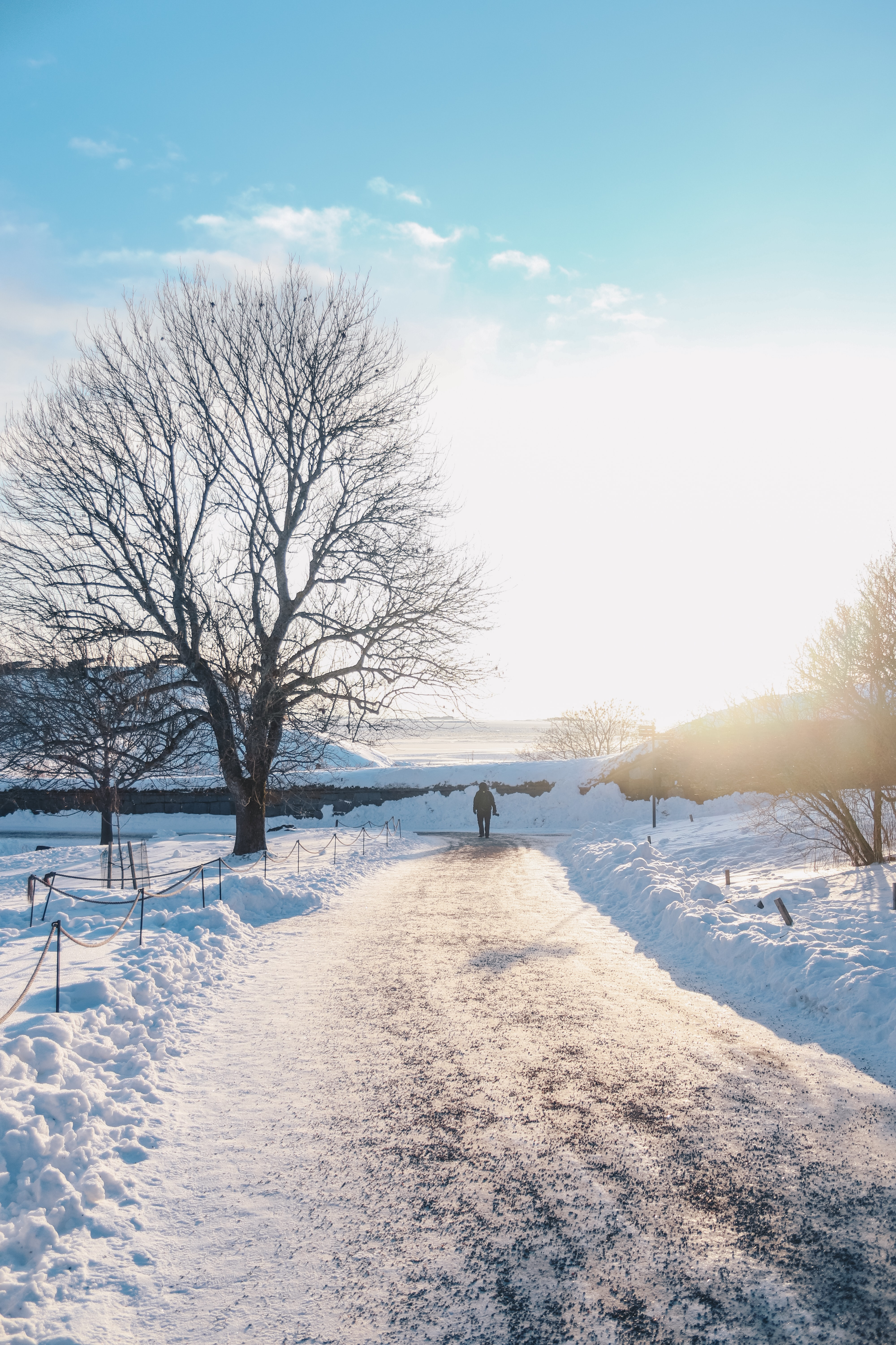 person walking on a snowy path during day time