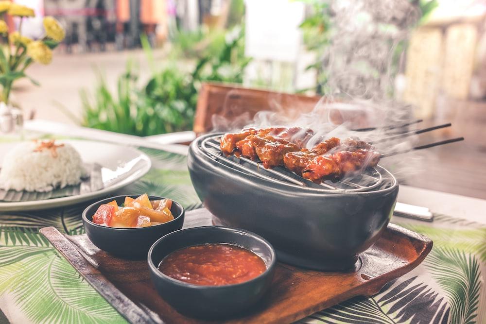 black barbecue grill