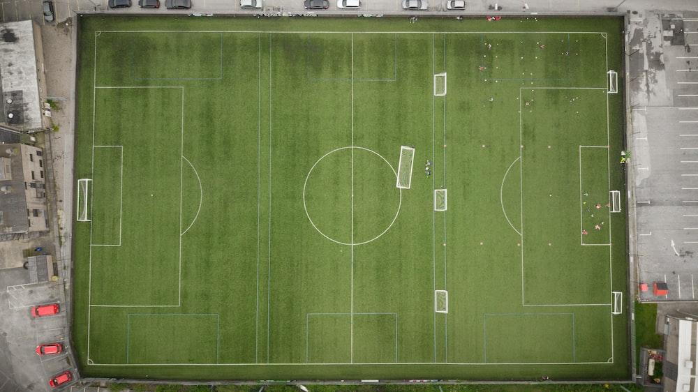 bird's eye view of soccer field