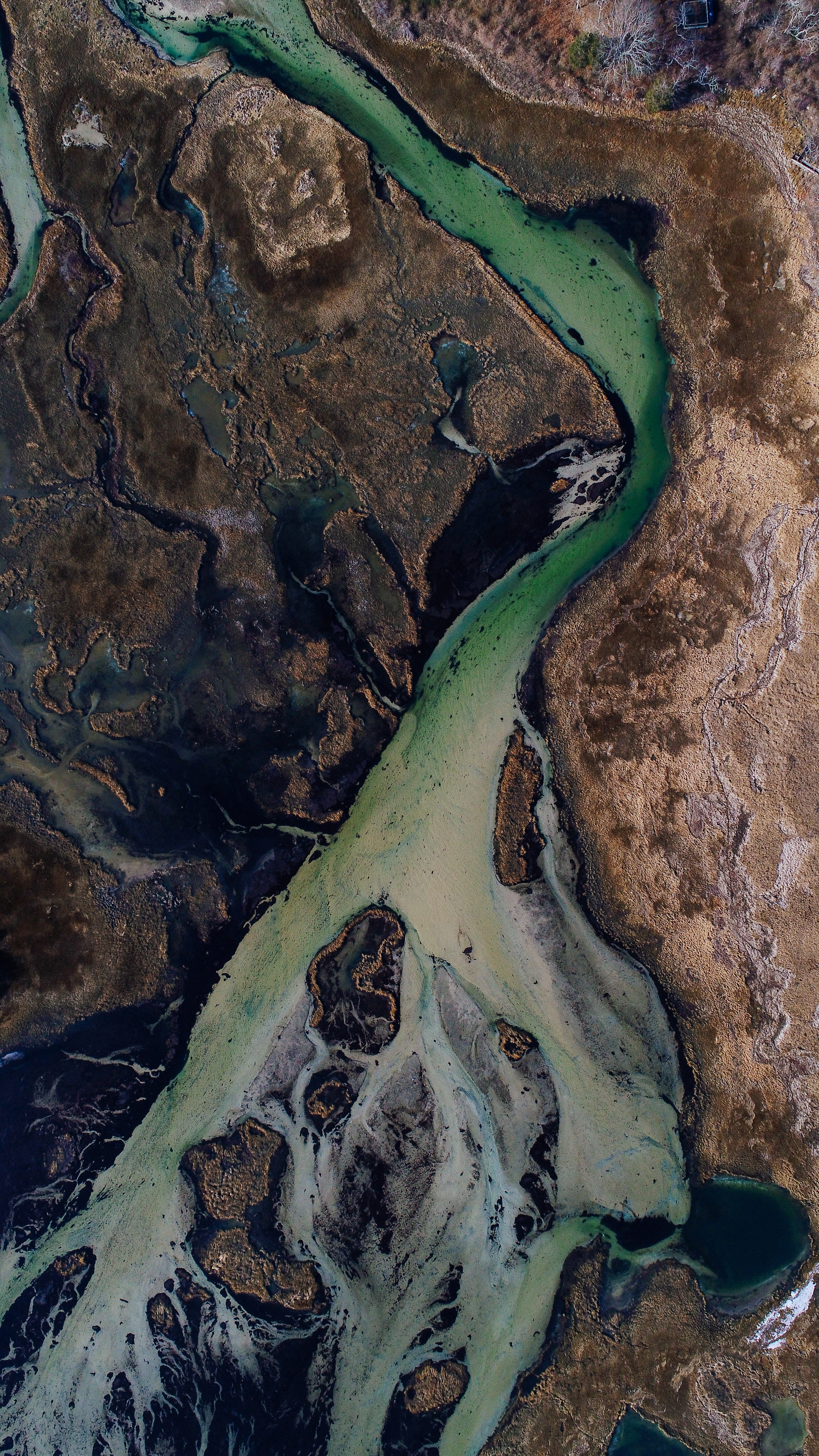 aerial view of river and mountains