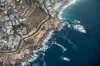 aerial veiw of city near body of water