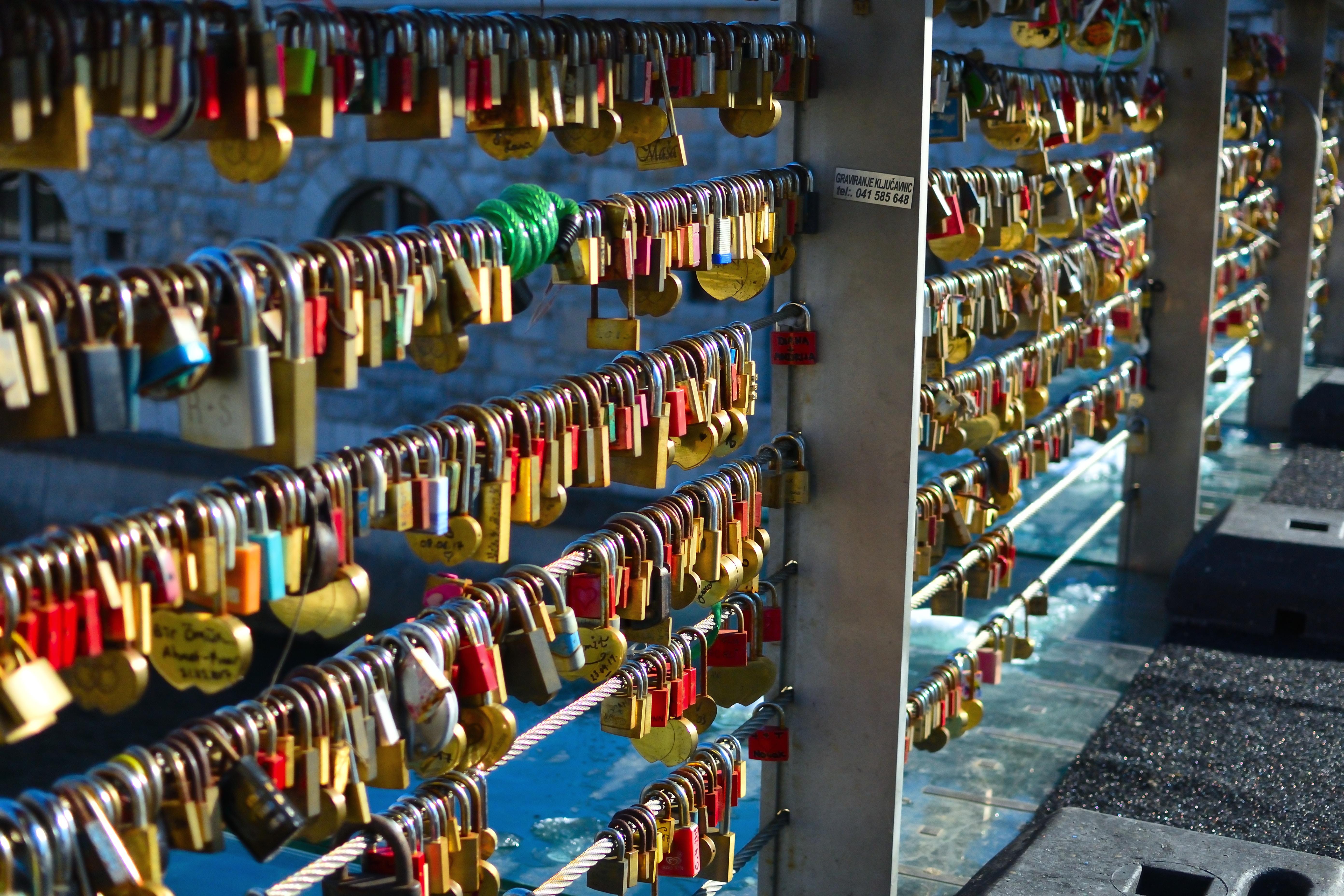 assorted locks lock on gray steel fence