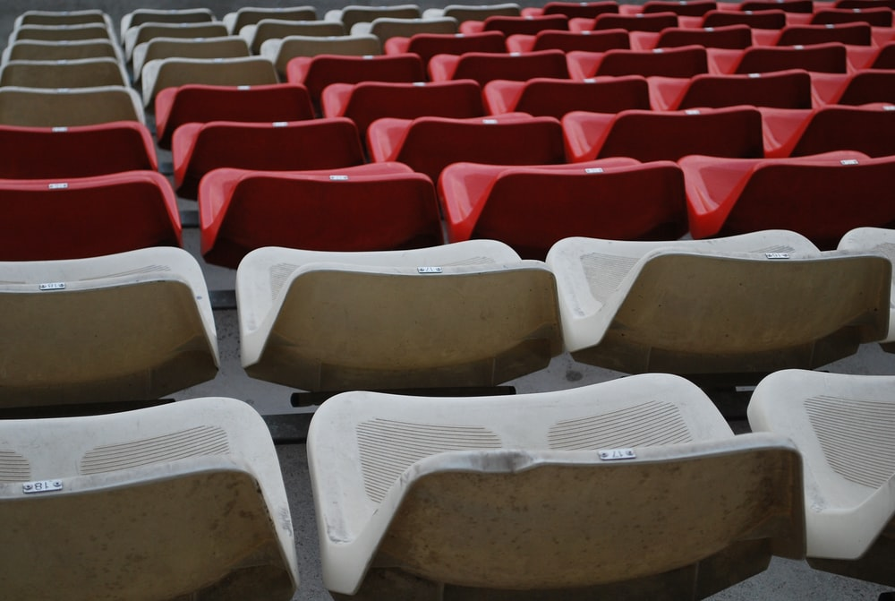 grey and red seats