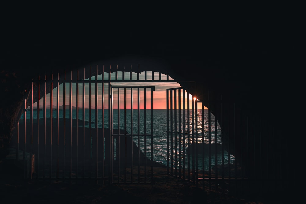 opened gate near body of water