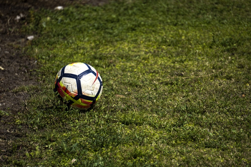 white and black soccer ball on green grass