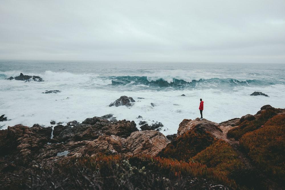 man standing on brown rock formation beside seashore during daytime