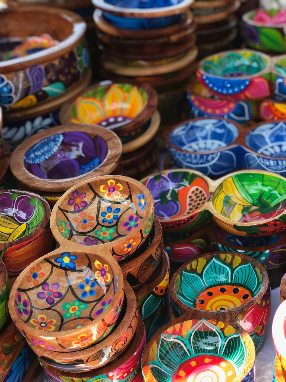 photo of multi-colored bowls