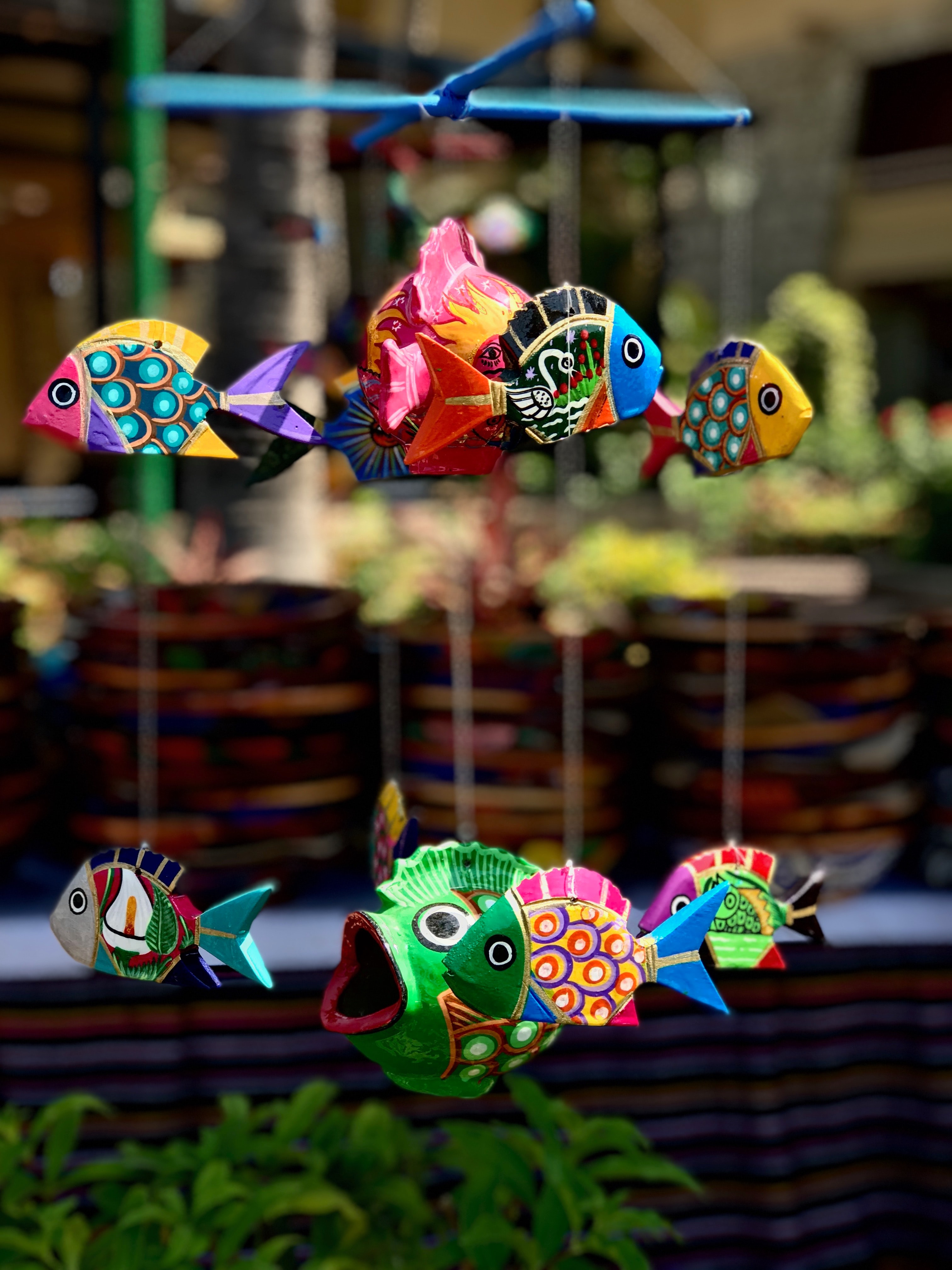 selective focus photography of fish hanging decor