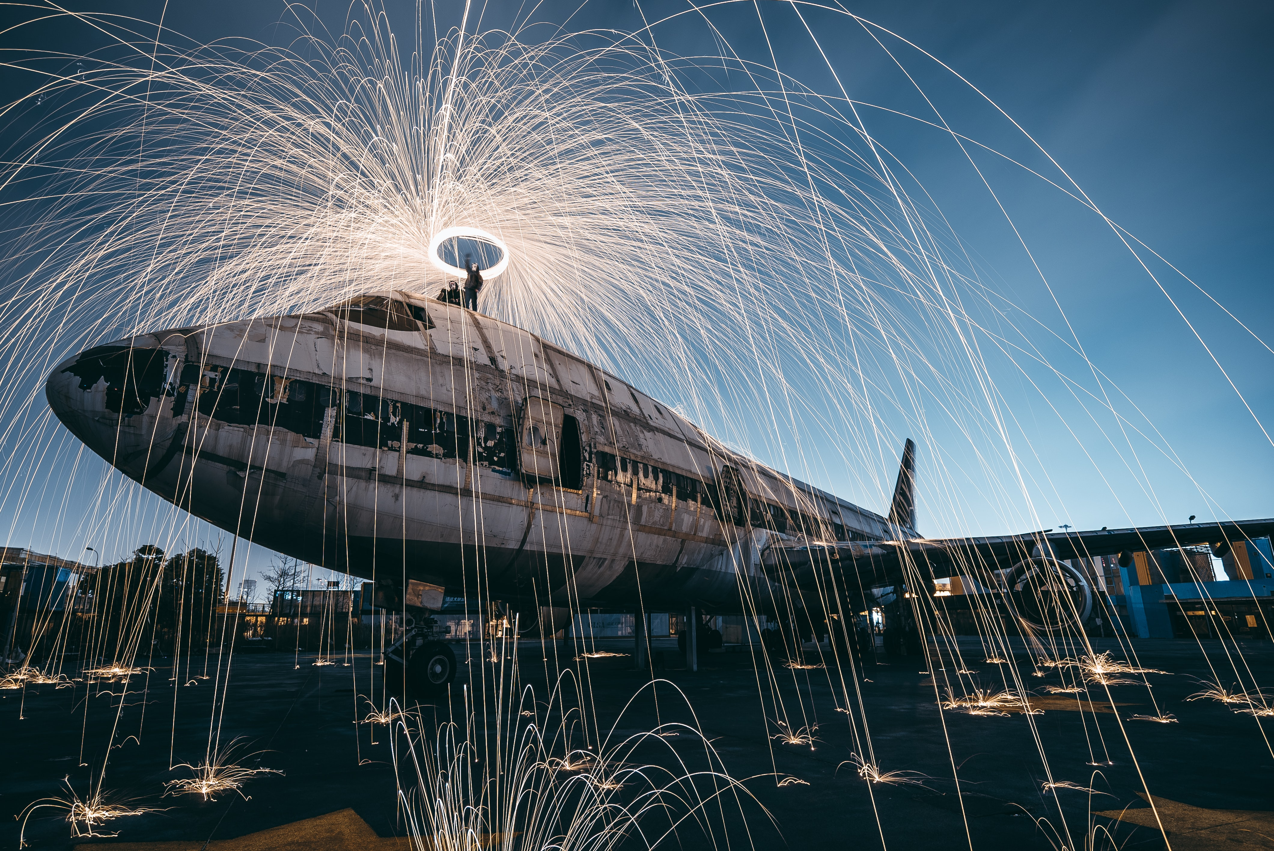 time lapse photo of steel wool and plane