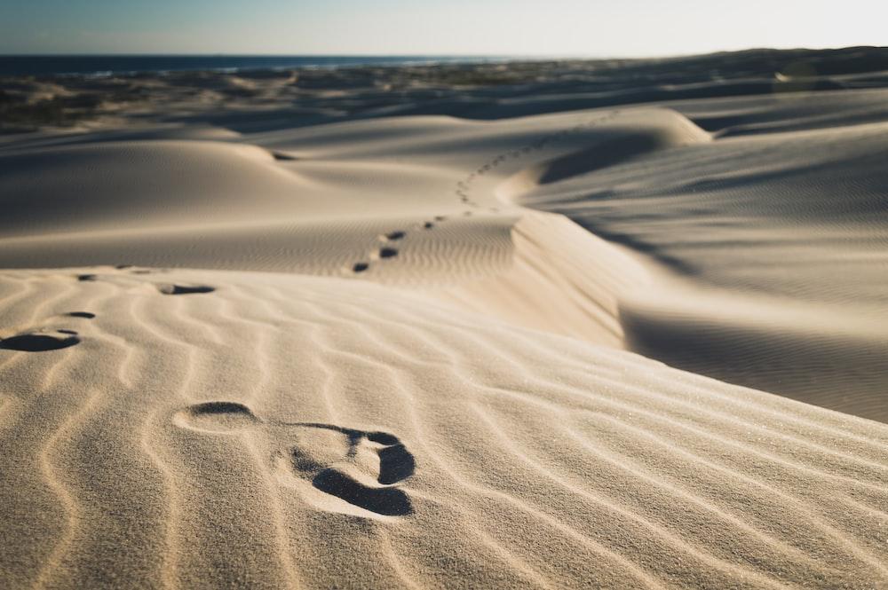 footsteps on sand during daytime