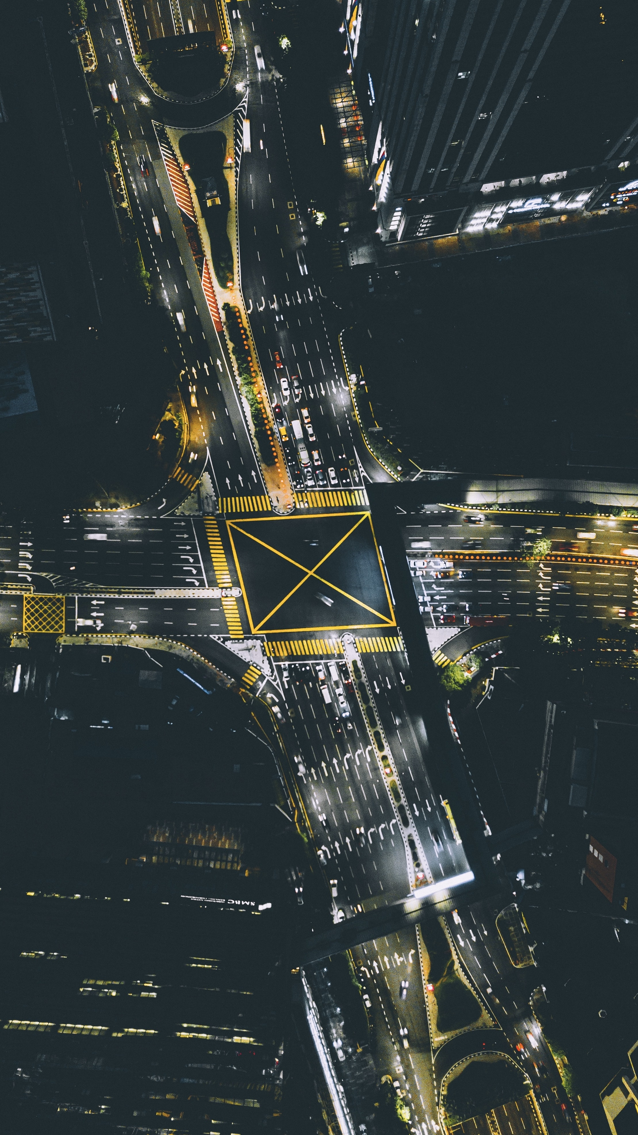 aerial photography of crossroad in city