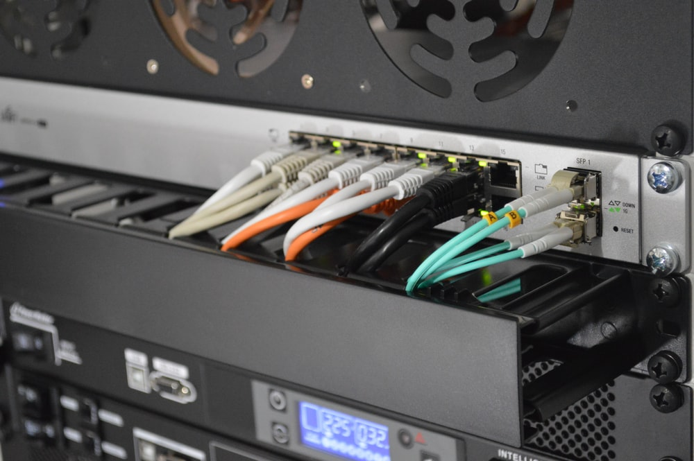 black network switch with cables