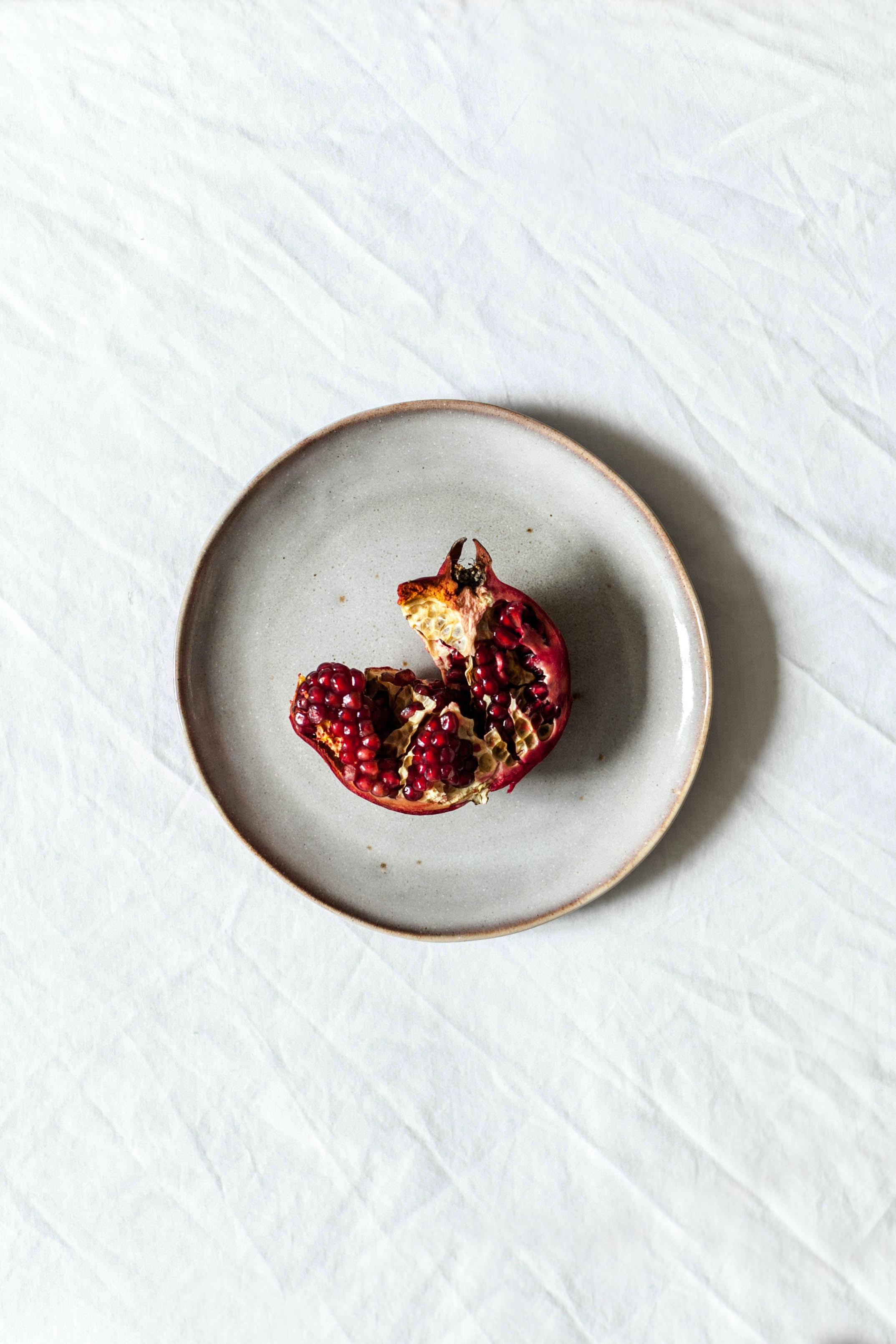 fruit on white ceramic plate