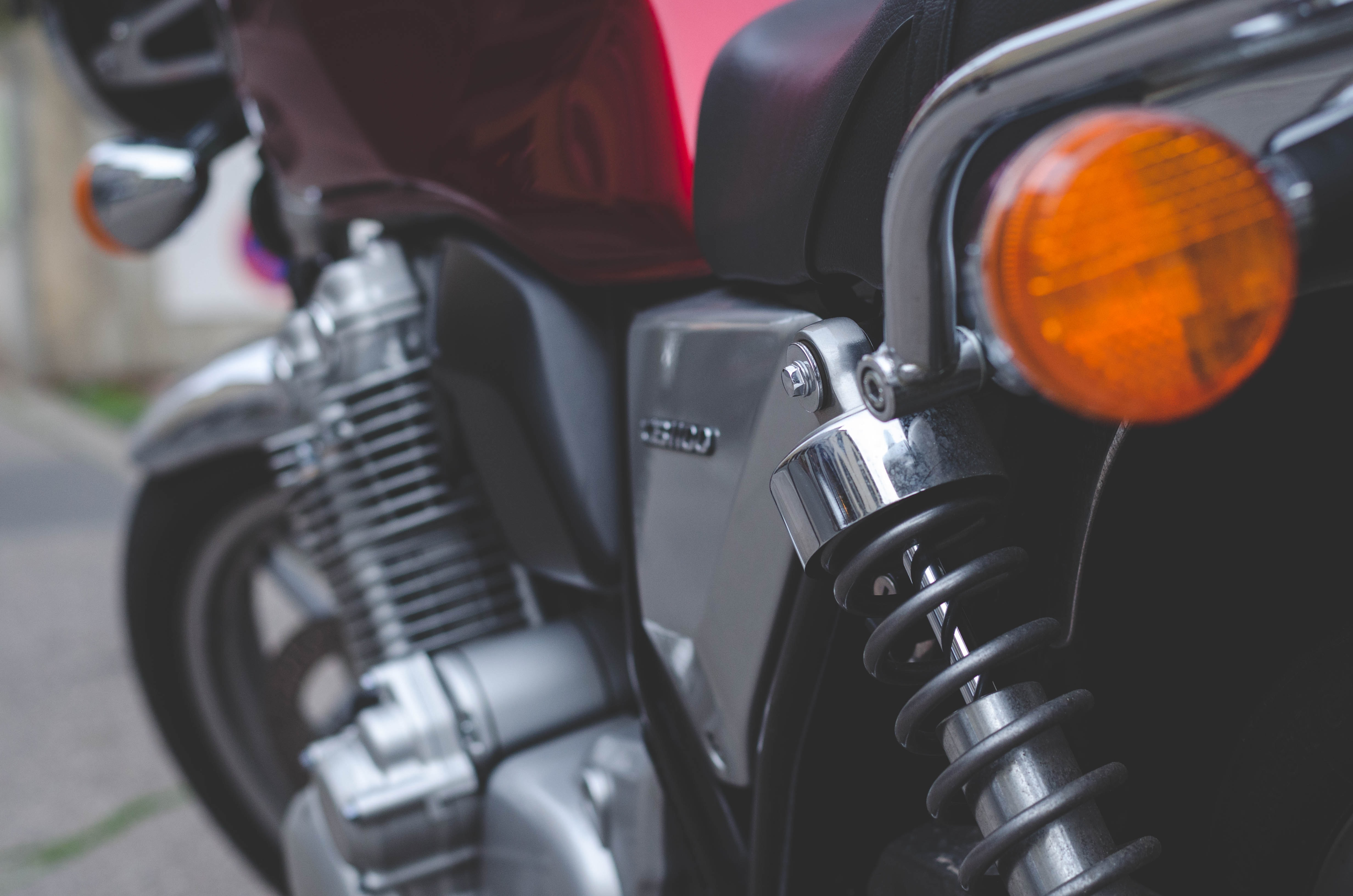 gray and red motorcycle