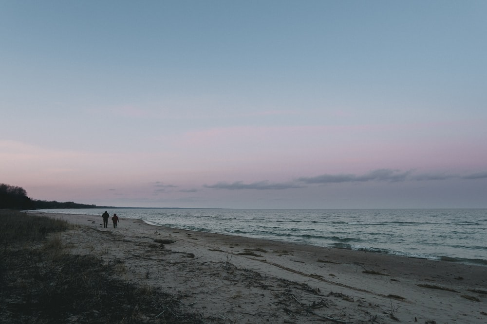 two persons walking on the seashore panoramic photo