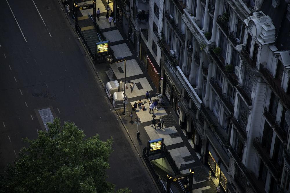 bird's eye-view photography of hotel building facade