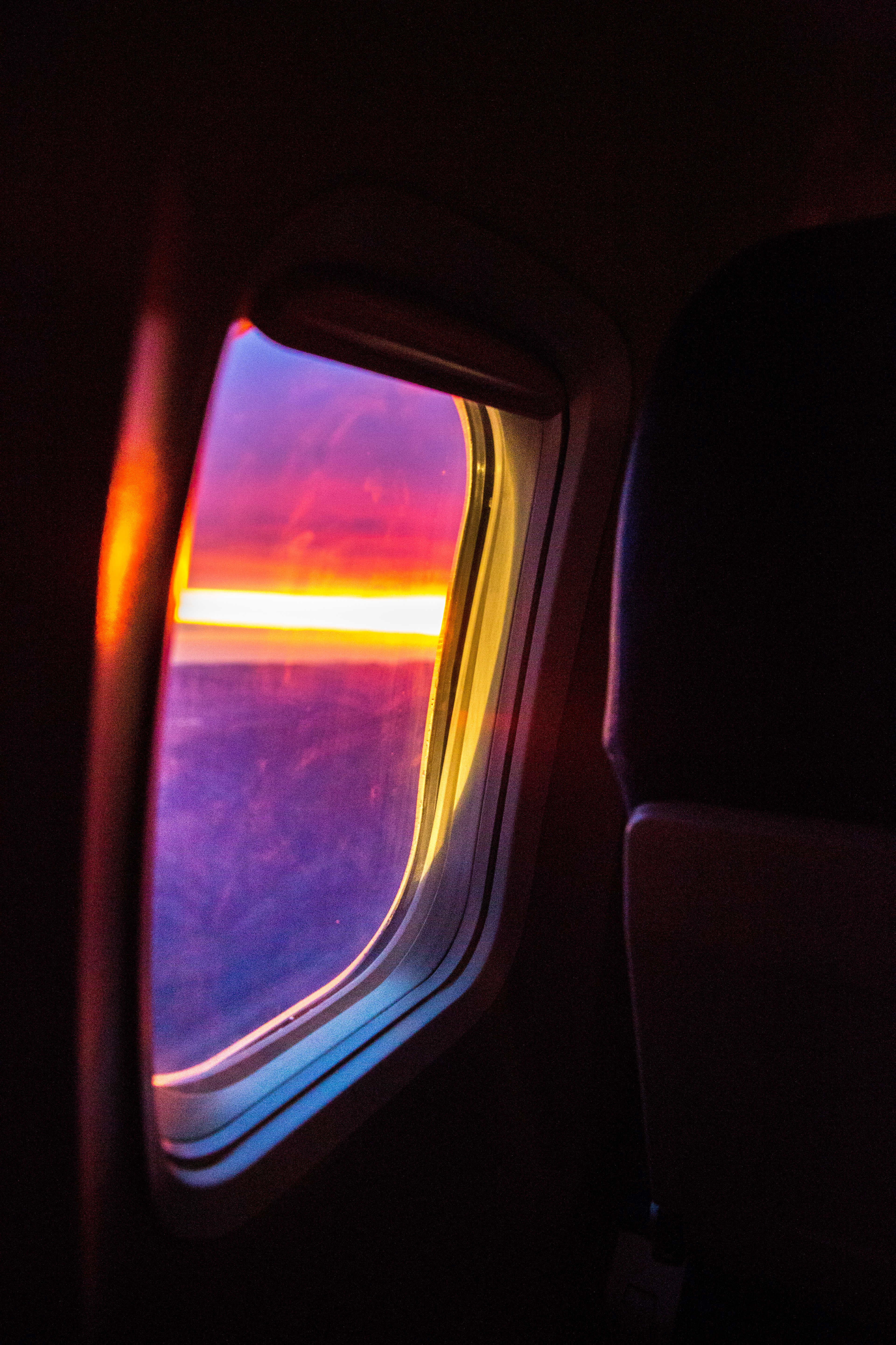 airplane view during golden hour