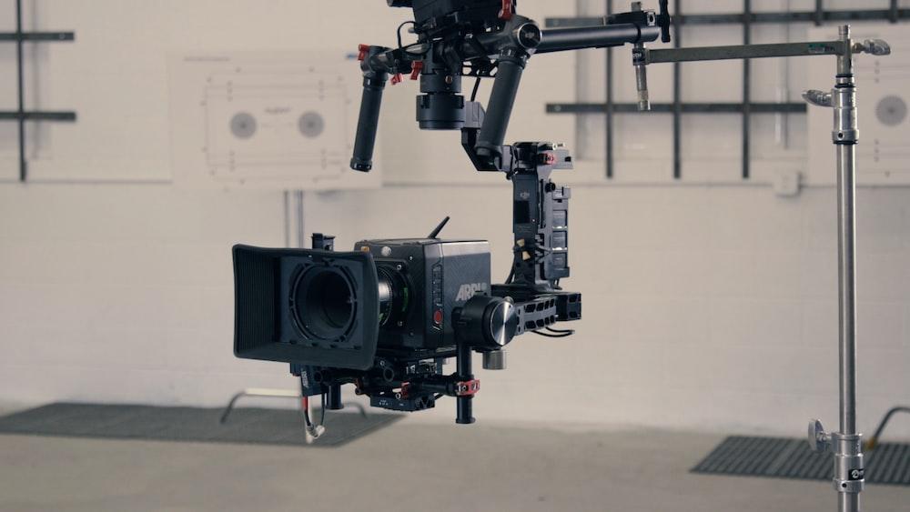closeup photo of black hanged video camera