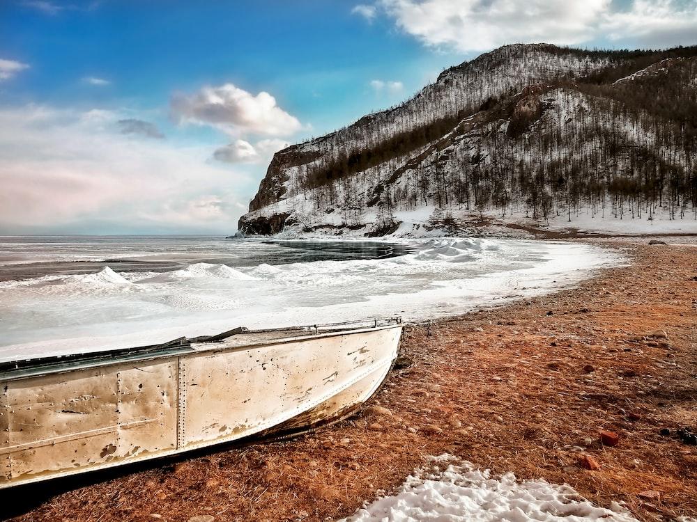 beige boat on shore