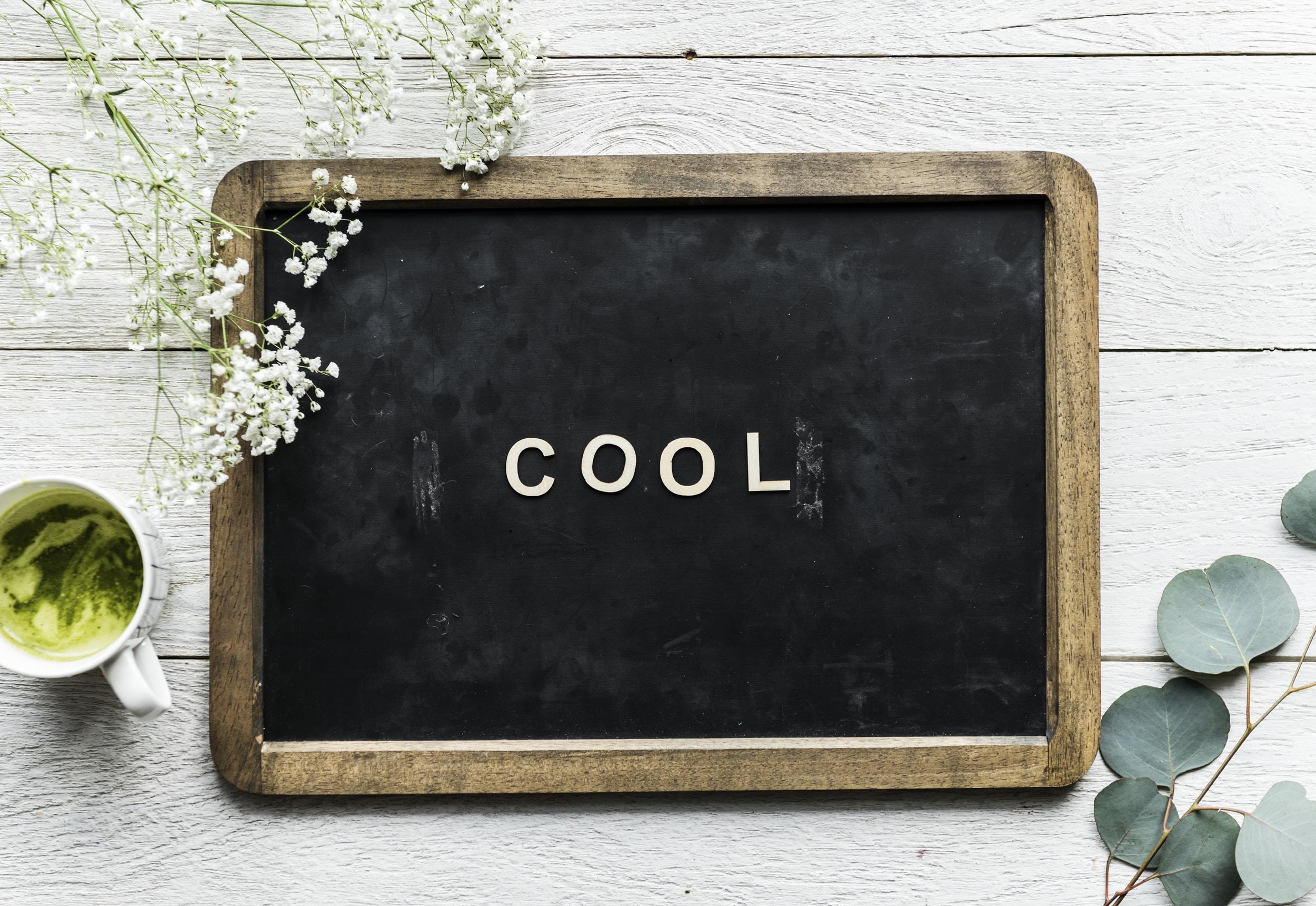 Cool written on chalkboard