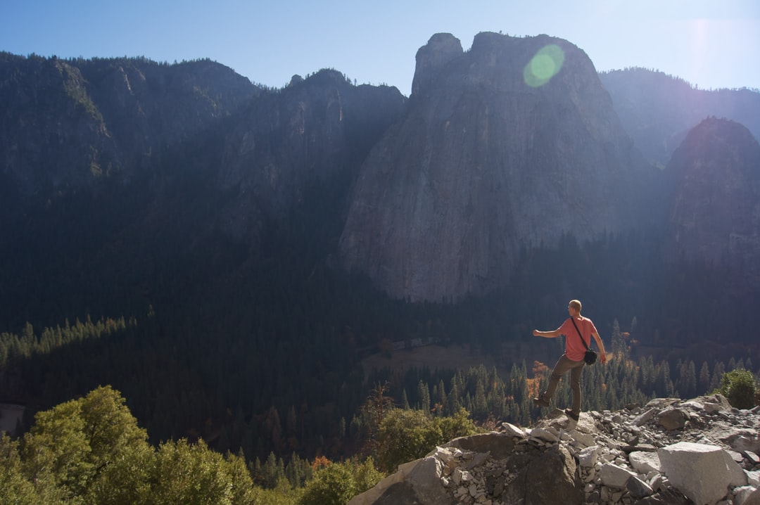 The foot of El Capitan in Yosemite Valley surmounts the valley. The angle gives the impression of stepping into air instead of the rocky slope down into the valley.