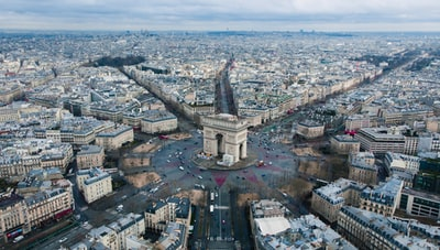 aerial view photography of city paris teams background