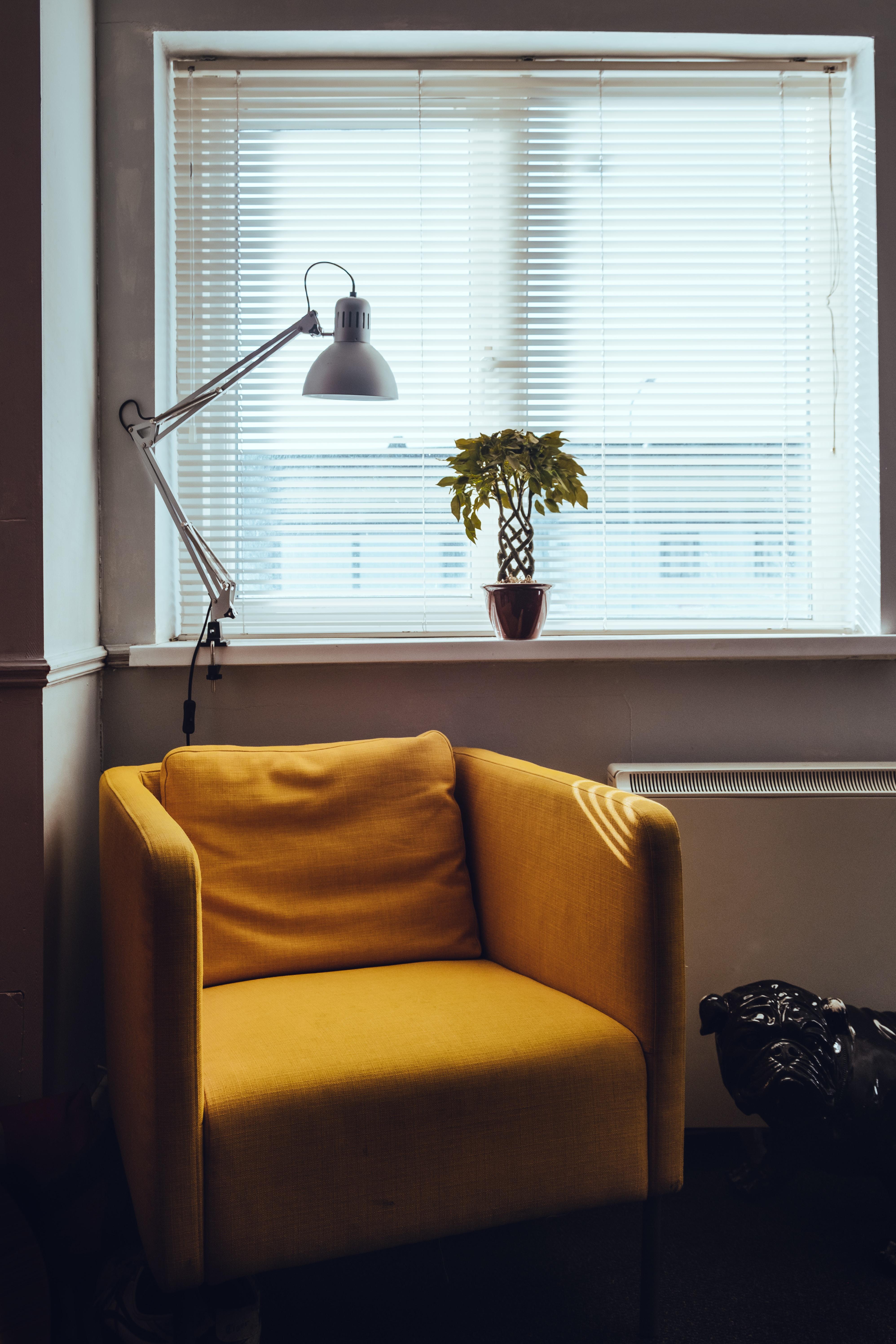 standing lamp near window
