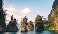 scenery of rock formation on body of water