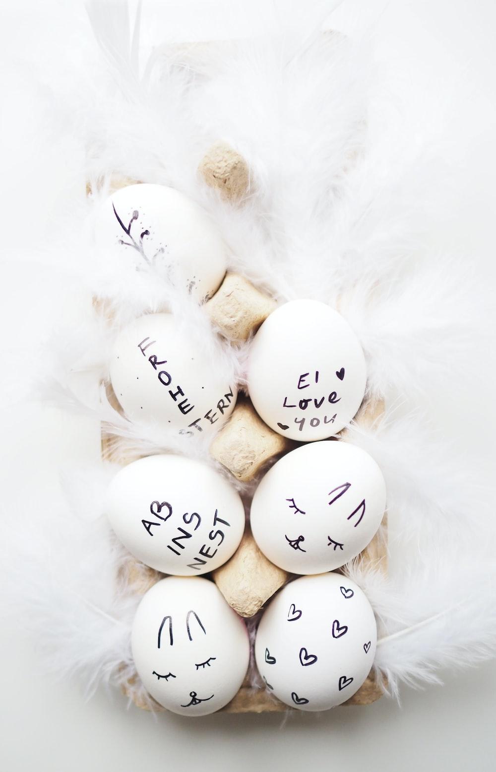 seven assorted-print organic eggs