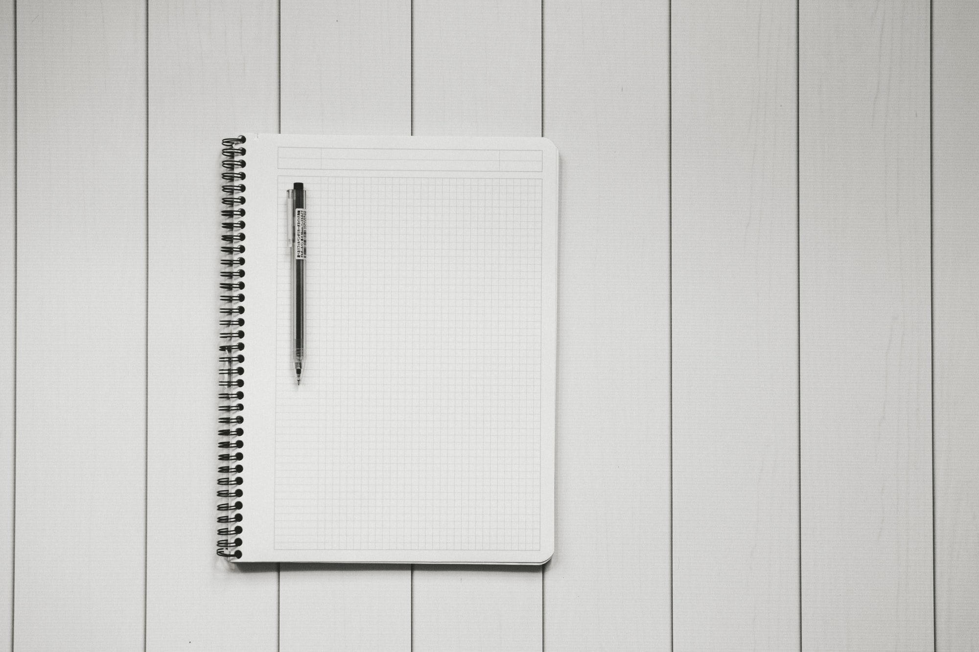 Grid notebook and Muji pen