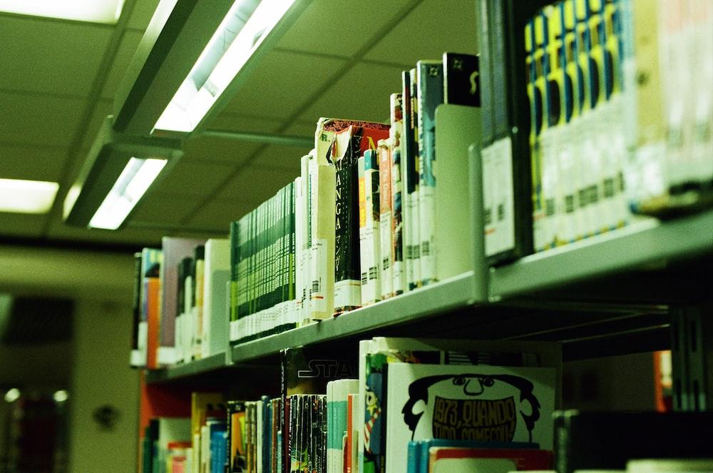 books on gray shelf