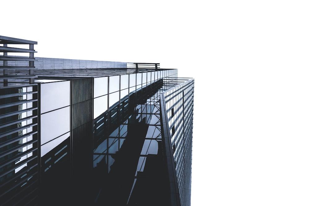 bottom view of skyscraper