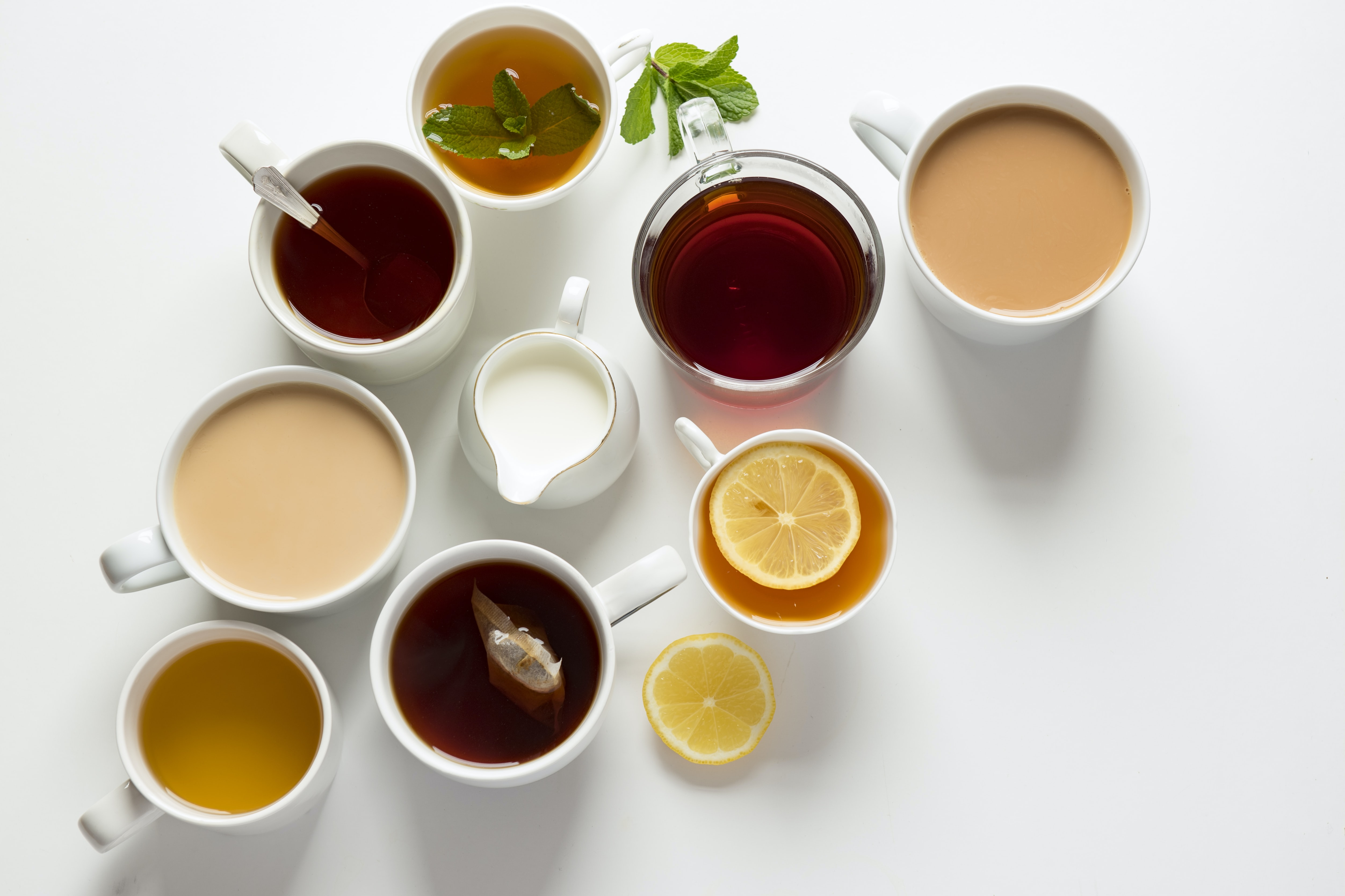flat-lay photography of variety of beverage filled glasses