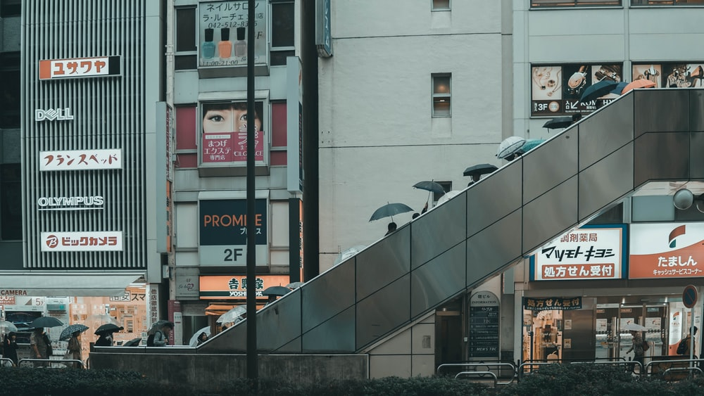 people on overpass near buildings