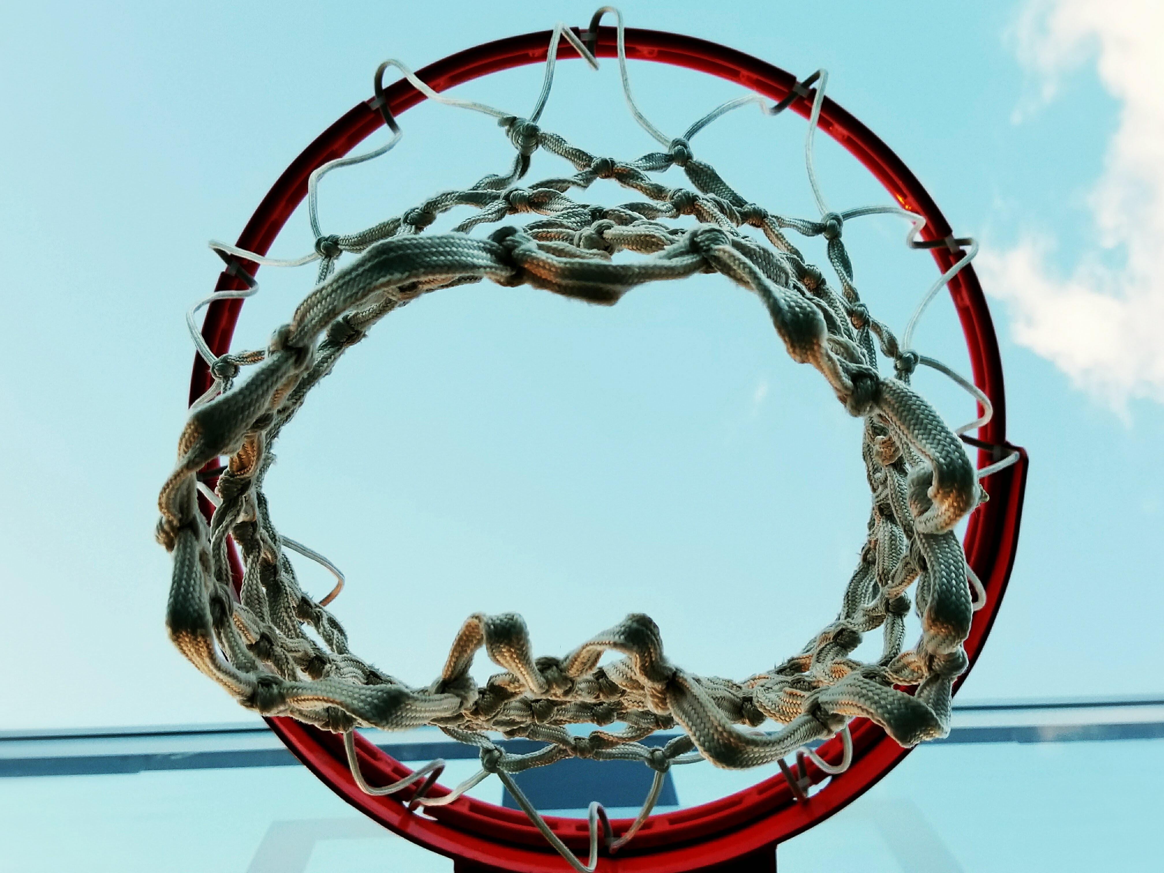 black, red, and brown basketball hoop