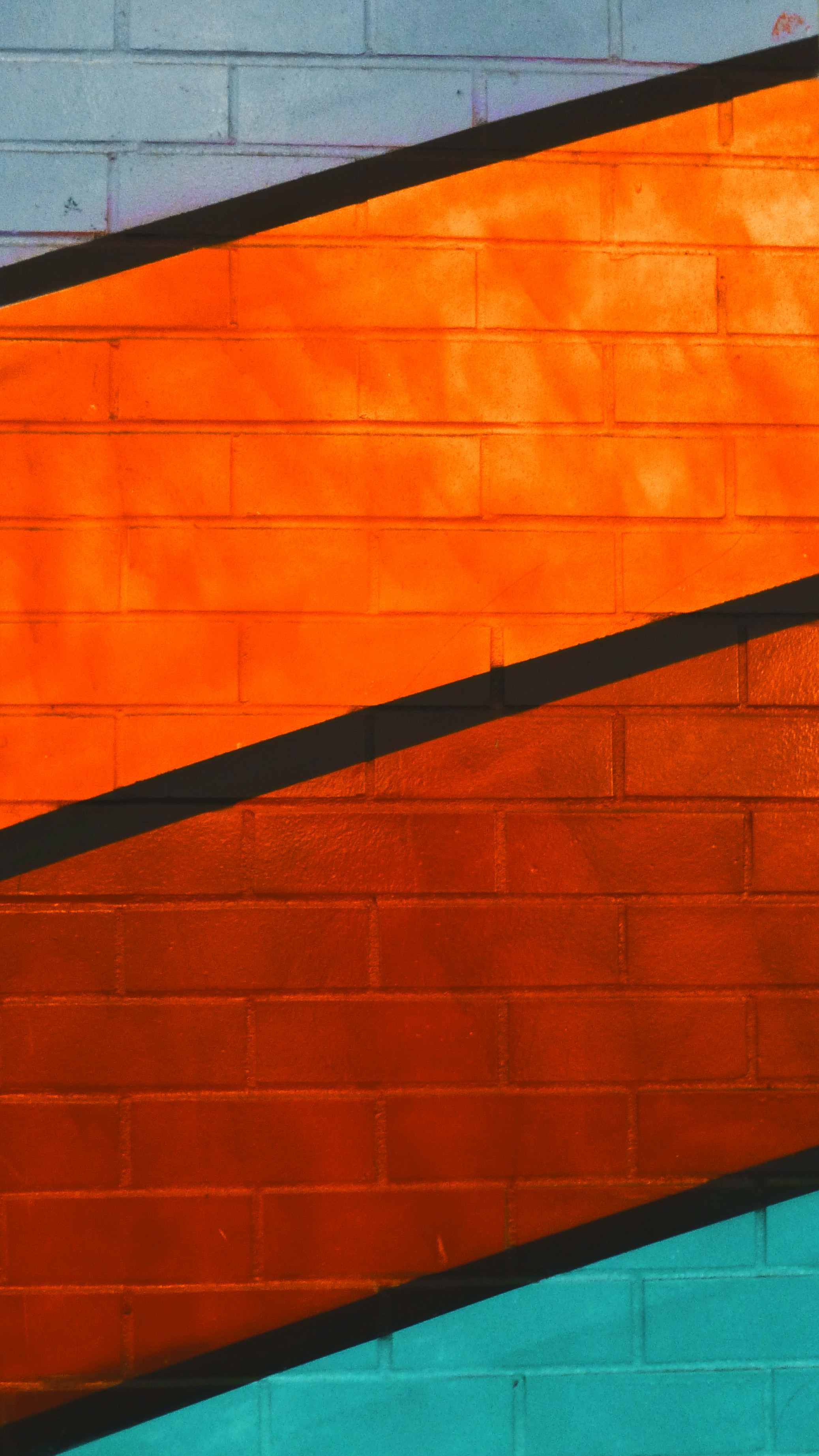 red, orange, and green wall paint
