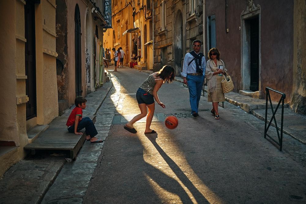 girl playing ball